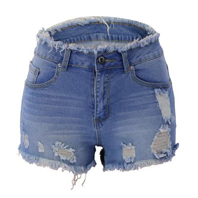 Zipper Fringed Edge Denim Shorts NSYB65121