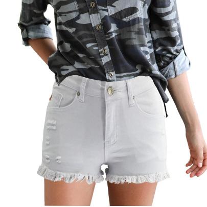 Broken Hole Tassel Solid Color Denim Shorts NSYB65127