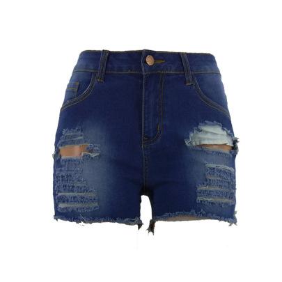Fashion Solid Color Hole Denim Shorts NSYB65142