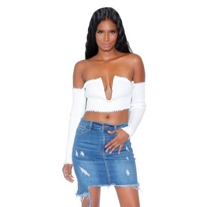 Fashion Irregular Holes Denim Skirts  NSYB65143