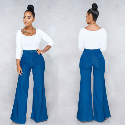 Trend Solid Color Horn Jeans NSYB65151