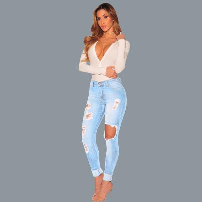 New Hole Slim Women's Jeans NSYB65153