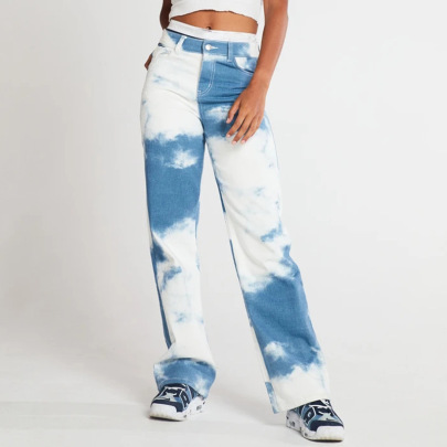 Fashion White Dyed Blue Slim Long Pen Holder Jeans NSYB65157