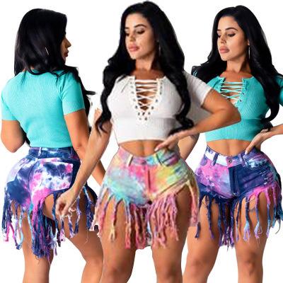 Tie-dye Tassel Denim Shorts NSYB65166