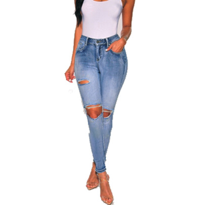 Sexy Solid Color Ripped Low-rise Slim Jeans NSYB65171