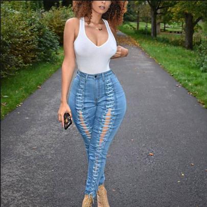 Fashion Light Blue Bandage Jeans NSYB65169