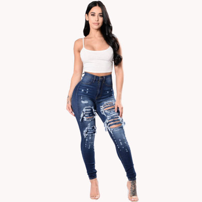 Spring Blue Skinny Ripped Jeans NSYB65172