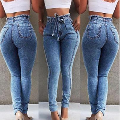 Waist Fringe Belt Tight Jeans NSYB65173