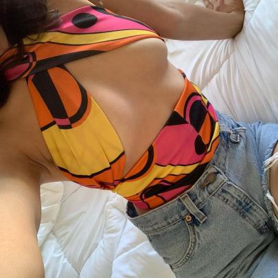 Summer Self-cultivation Stitching Umbilical Vest NSYLF65236