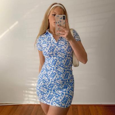 New Short-sleeved Sexy Slim Bag Hip Print Dress NSYLF65237
