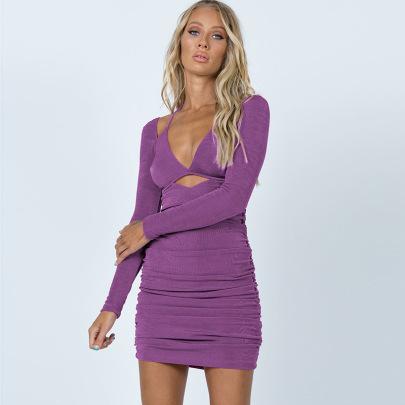 Sexy Slim Sling Strap Long-sleeved Dress NSYLF65242