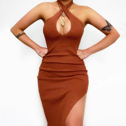 Summer New Fashion Cross Halter Sexy Slim Bag Hip Dress NSYLF65251