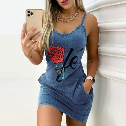 Summer Fashion Print Sling Bag Hip Dress NSXIA65343