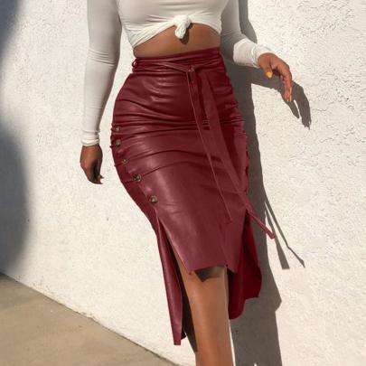 Fashion Solid Color Slim Wrap Hip Split Skirt NSXIA65332