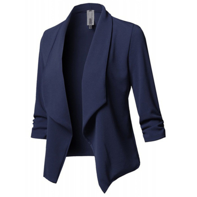 Long-sleeved Lapel Solid Color Irregular All-match Suit NSXIA65320