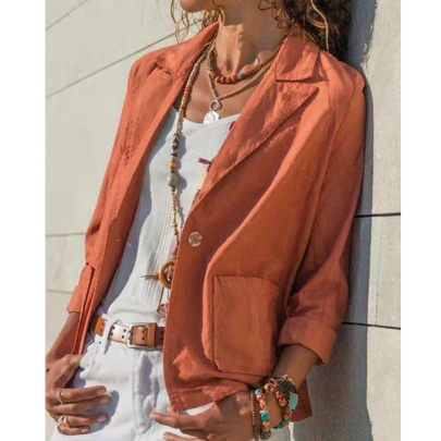 Temperament Cotton And Linen Casual Solid Color Long-sleeved Short Coat NSXIA65319