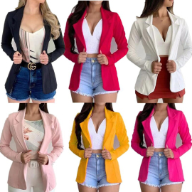 Autumn And Winter Fashion Long-sleeved Slim Solid Color Small Jacket NSXIA65304