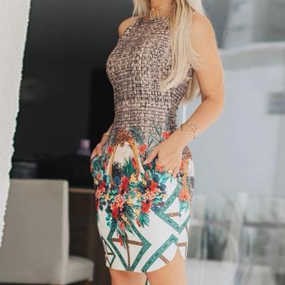 Printed Round Neck Sleeveless Casual Long Dress NSXIA65313
