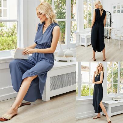 Summer V-neck Temperament Mid-length Skirt  NSLM61224