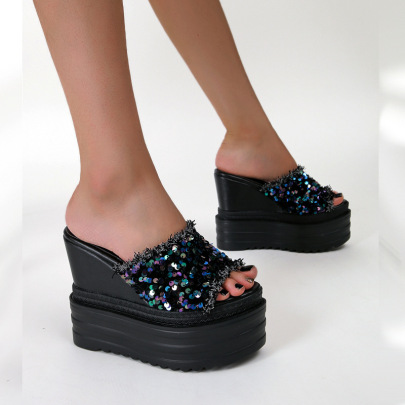 High Wedge Sequined Slippers NSSO61338