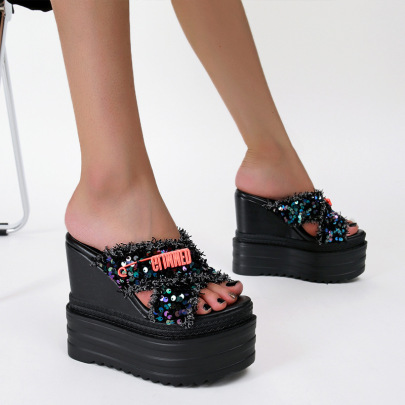 Cross Super High Heel Sequined Cloth Slippers NSSO61339