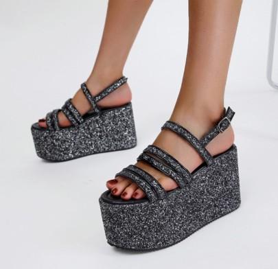 Super High-heel Silver Sequin Sandals NSSO61343