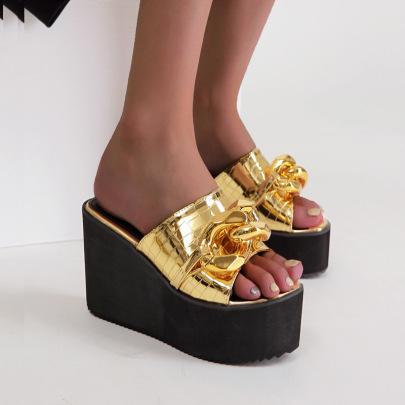 Muffin Wedge  Golden Chain Sandals NSSO61348