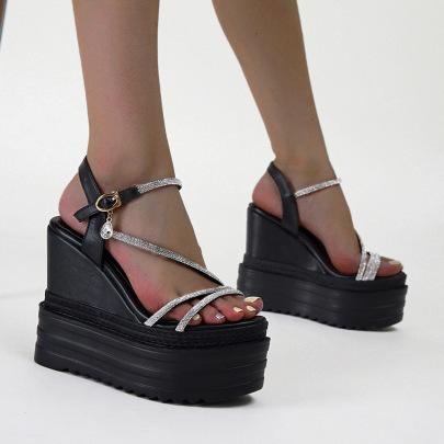 Slope High-heeled Rhinestone Straps Buckle Sandals NSSO61354