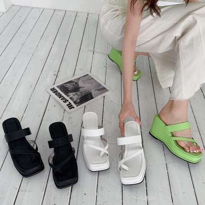 Square Toe Thin Strap Wedge Platform Sandals NSHU61392