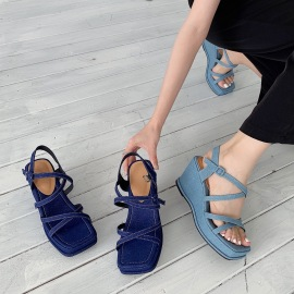 High-heeled Square Toe Open-toed Sandals NSHU61393