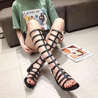 Thick High-heeled High-tube Hollow Sandals NSSO61754