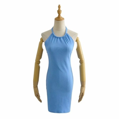 New Tie Rope Pure Color Sling Dress NSHS61795