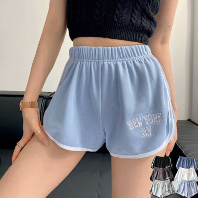 Letter Embroidered Curved Sports Shorts Elastic Pants NSHS61807