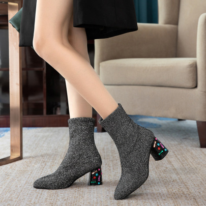 Sexy Slim Thick And High-heeled Pointed Sequin Short Boots NSZSC65352