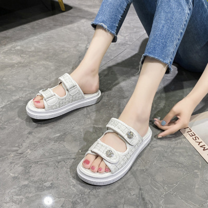 Thick-soled Summer New Style Rhinestones Beach Slippers NSZSC65378