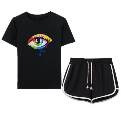 Color Matching Big Eyes Printed T-shirt Drawstring Shorts Casual Set NSYIC65449