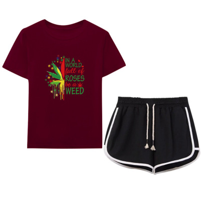 Color Matching Maple Leaf English Printing T-shirt Drawstring Shorts Casual Set NSYIC65450