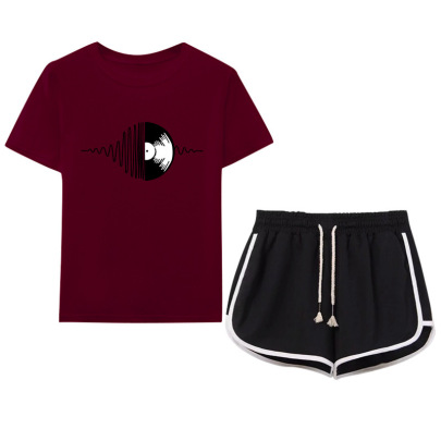 Black And White Corrugated Disc Printing T-shirt Drawstring Shorts Casual Set NSYIC65452