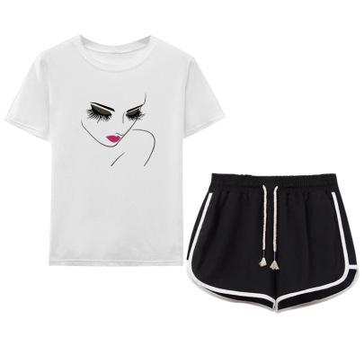 Sense Girl Simple Strokes Printing T-shirt Tide Brand Drawstring Shorts Set NSYIC65454