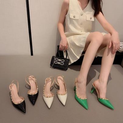 Fashion Pointed Backspace Buckle Heels Sandals NSHU65485