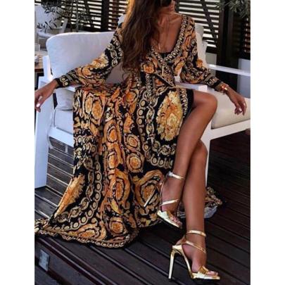 Wholesale Women's Clothing Nihaostyles Summer Retro Print Sexy Big Split V-neck Dress NSXIA65656