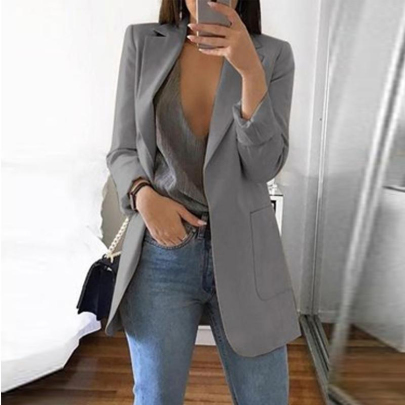 Wholesale Women's Clothing Nihaostyles Fashion Lapel Solid Color All-match Blazer NSXIA65657