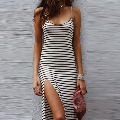 Wholesale Women's Clothing Nihaostyles Summer Striped Sling Slim Halter Slit Long One-piece Dress NSXIA65663