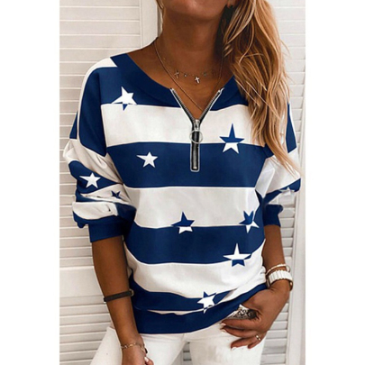 Wholesale Women's Clothing Nihaostyles Fashion V-neck Casual Striped Print Pullover Loose Sweater NSXIA65511