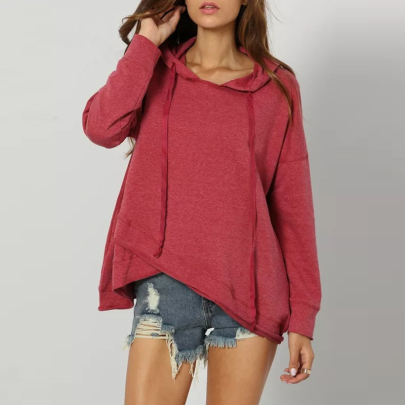Wholesale Women's Clothing Nihaostyles Solid Color Hooded Irregular Hem Sweater NSXIA65497