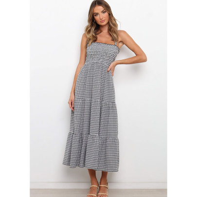 Wholesale Women's Clothing Nihaostyles Sling Wrapped Chest Plaid Long Skirt Dress  NSJIM65493
