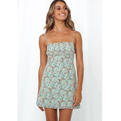 Wholesale Women's Clothing Nihaostyles Printed Chiffon Sling Short Dress NSJIM65492