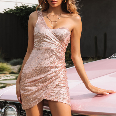 Wholesale Clothing Vendors Nihaostyles Halter One-shoulder Tight-fitting Hip Sexy Sequin Dress NSYSM67101