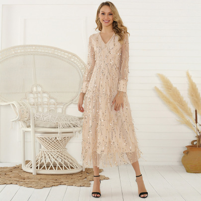 Wholesale Clothing Vendors Nihaostyles Long-sleeved Sequined Fringed Long Dress NSYSM67105