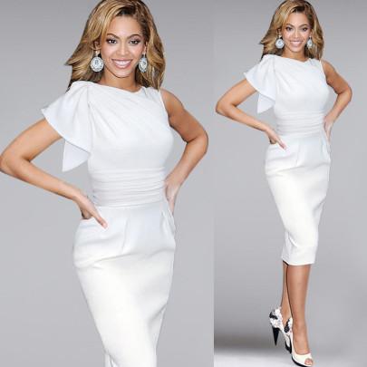 Wholesale Clothing Vendors Nihaostyles Ruffled Sleeves Pleated Slim Pencil Tight Dress NSYSM67107